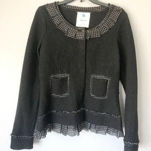 Anthropologie Sparrow Black Sweater Jacket Size M